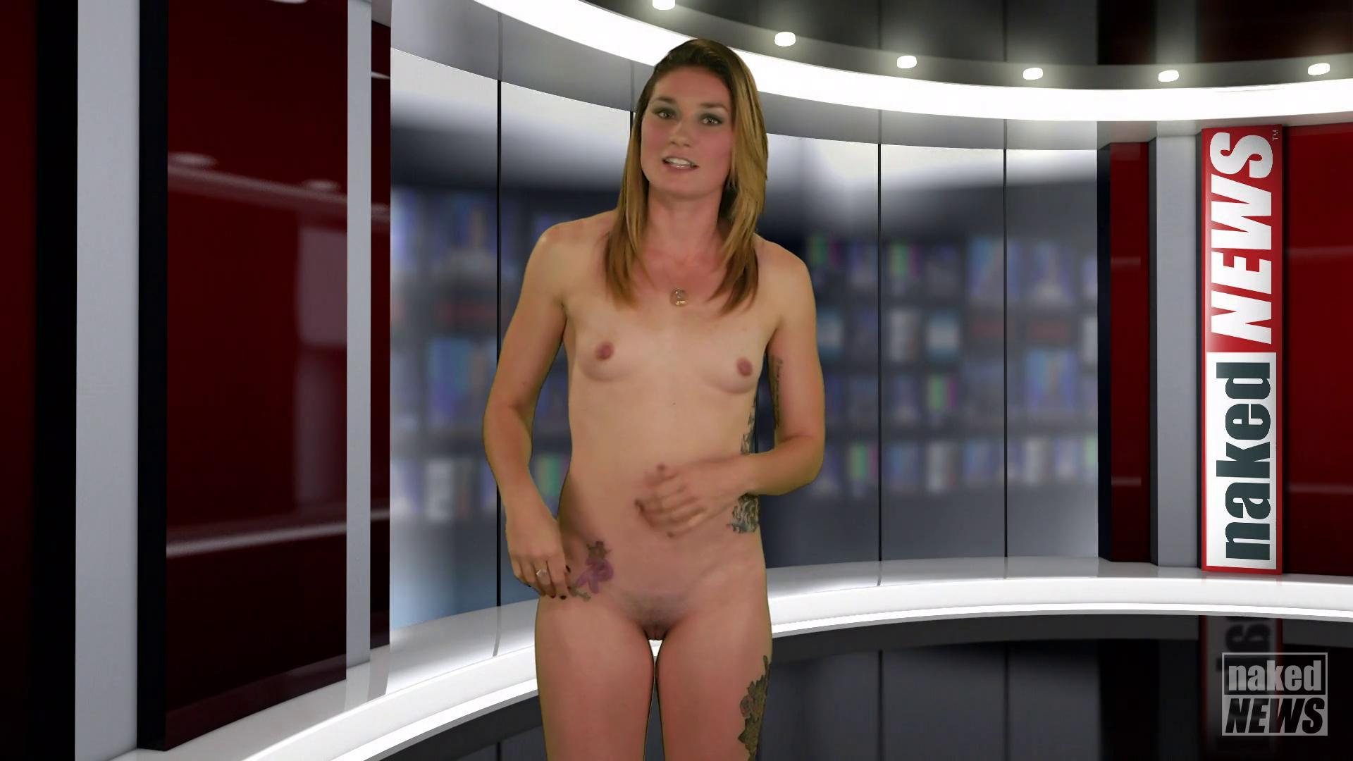 Girl naked newscasting using