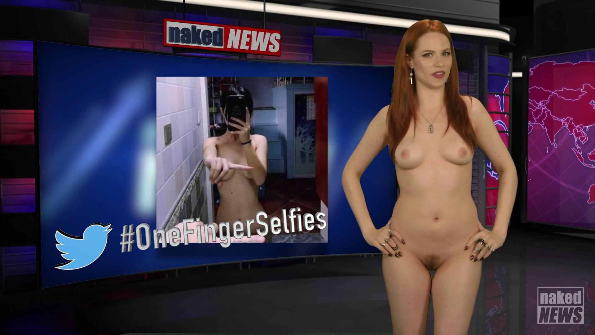 Sexy news reader strips totally naked while reporting on raunchy tv show